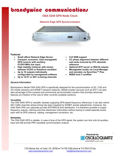 OSA-5240 Compact, Flexible, Manageable Synchronization
