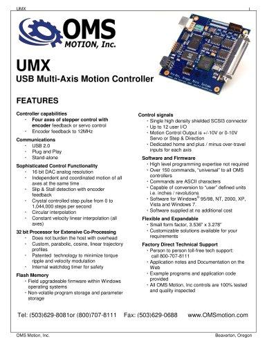 UMX-USB - OMS Motion, Inc  - PDF Catalogs | Technical