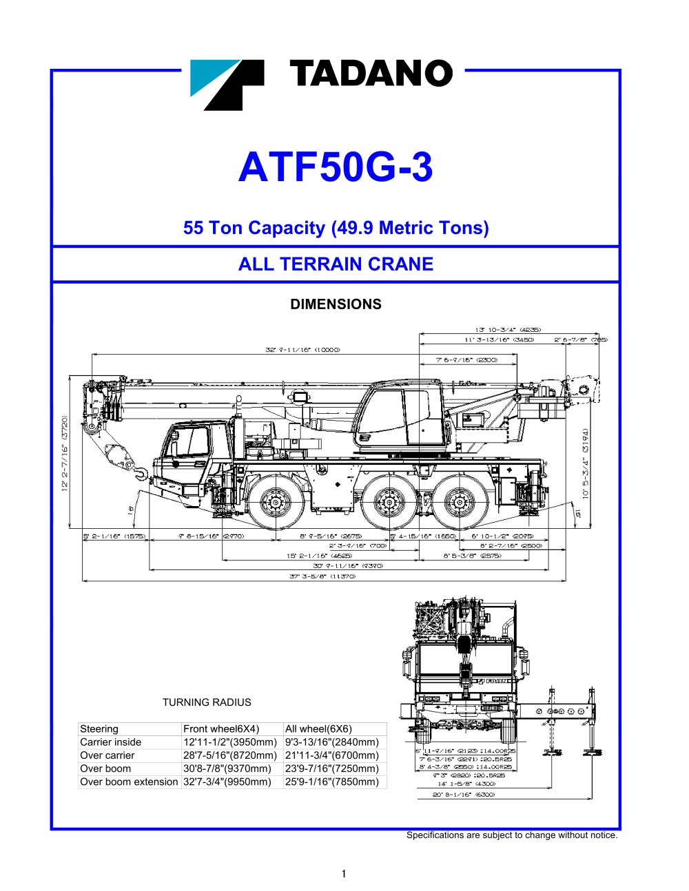 All Terrain Cranes - 1 / 20 Pages