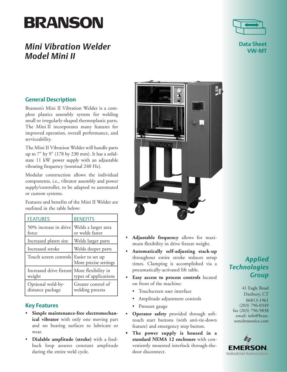 branson mini vibration welder branson ultrasonics pdf catalogue rh pdf directindustry com Branson Welder AES 941 Branson Welders Calibration