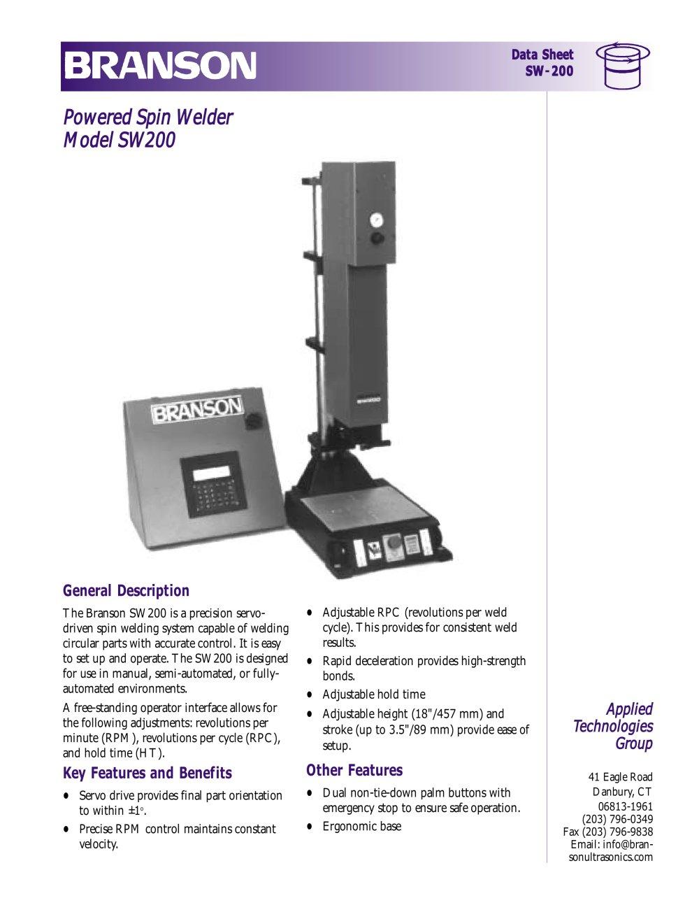 branson spin welders branson ultrasonics pdf catalogue rh pdf directindustry com Branson 900 Series Ultrasonic Welders Branson Welding Parts