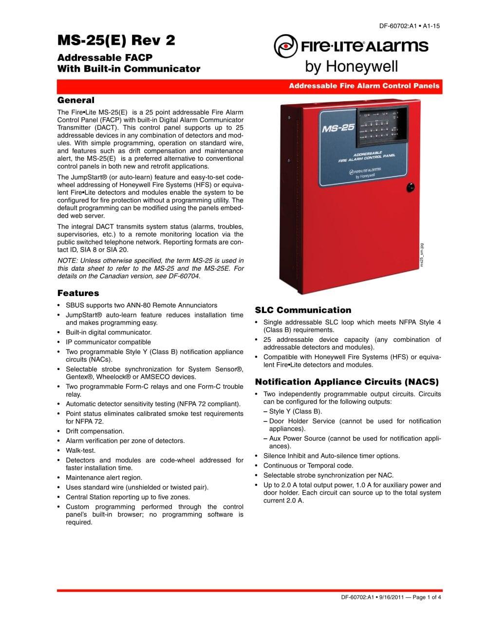 MS-25 - Fire-Lite Alarms - PDF Catalogue | Technical Documentation ...
