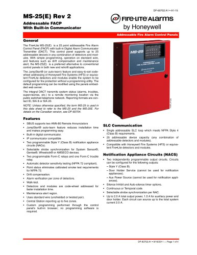 MS-25 - Fire-Lite Alarms - PDF Catalogs | Technical Documentation