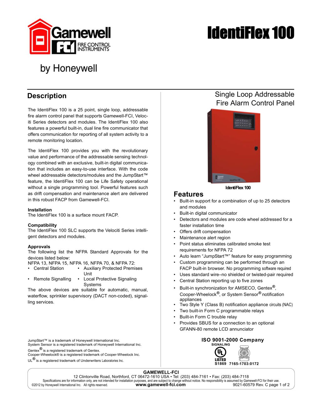 identiflex 100 637070_1b identiflex 100 gamewell fci pdf catalogue technical fci 7100 annunciator wiring diagram at bayanpartner.co