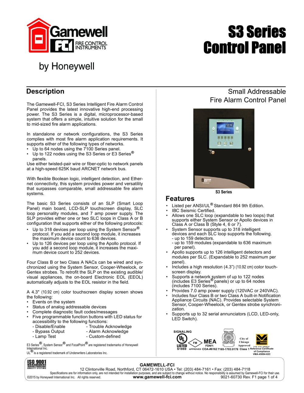 S3 Series Control Panel Gamewell Fci Pdf Catalogue Technical Eol Resistor Wiring Diagram 1 4 Pages