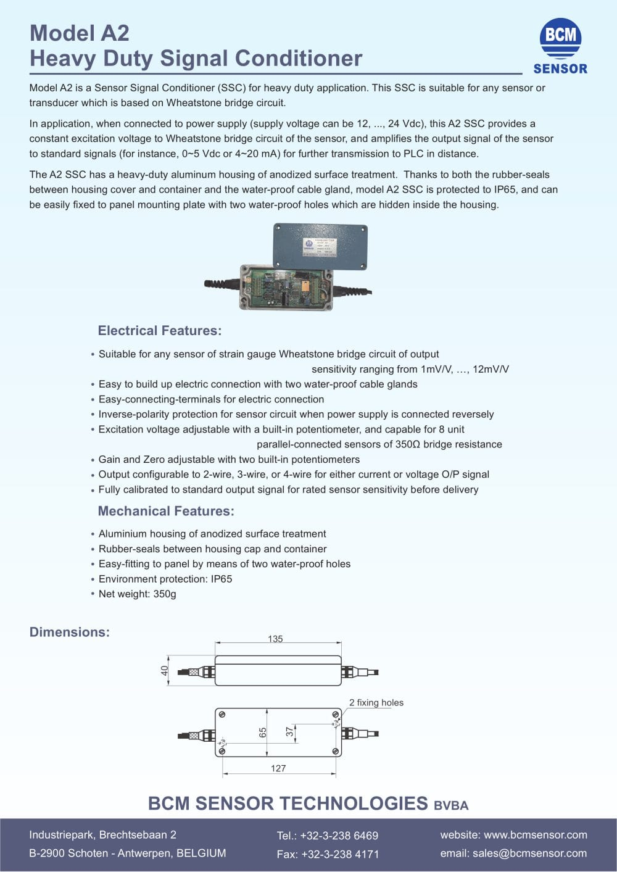 Model A2 Bcm Sensor Technologies Bvba Pdf Catalogue Technical 2wire Diagram For Plc 1 2 Pages