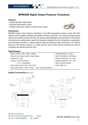 MPM3808 I2C Digital Output Pressure Transducer - Micro
