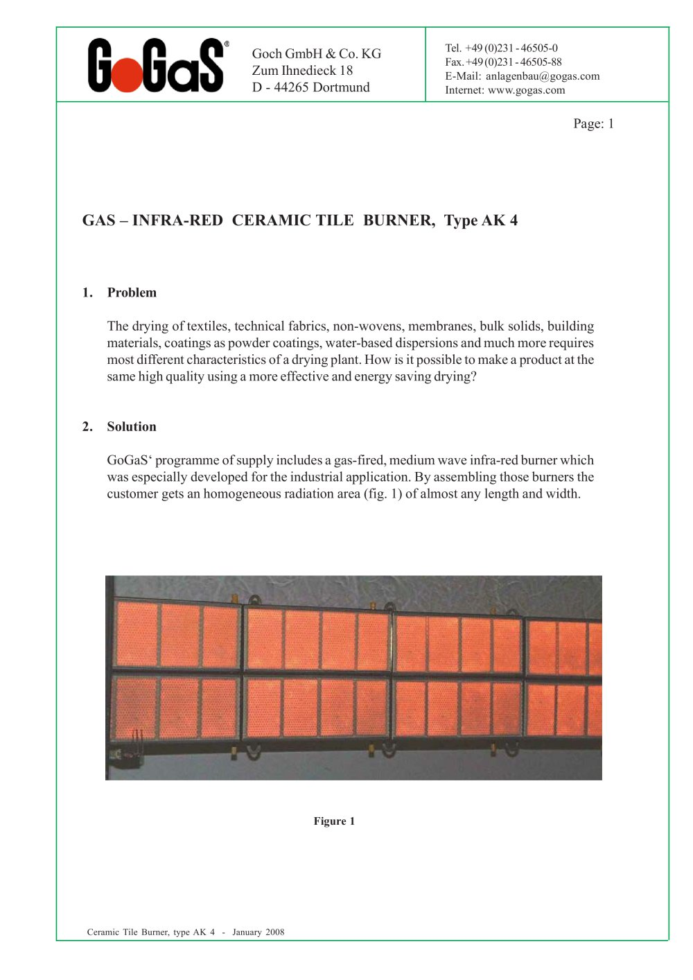 Brochure Ceramic Burner Gogas Goch Gmbh Co Kg Pdf Catalogue