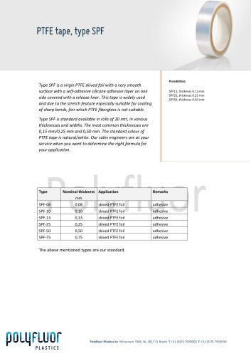 PTFE tape, type SPF - Polyfluor Plastics bv - PDF Catalogs