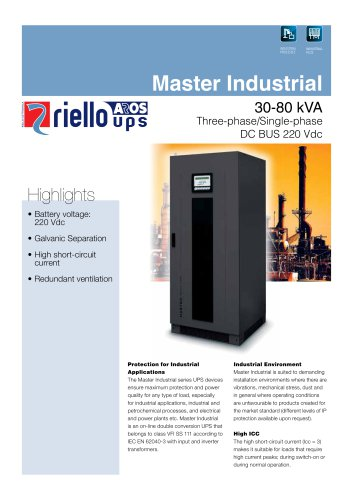 Riello Master Plus Industrial UPS Systems - AC/ DC