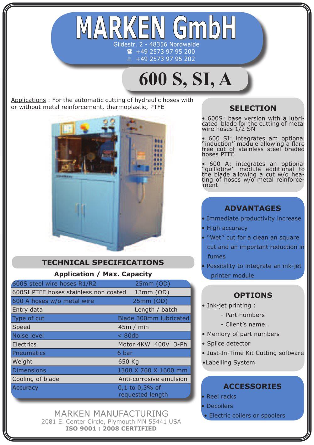 600 S,SI,SA - Marken Manufacturing - PDF Catalogue | Technical ...