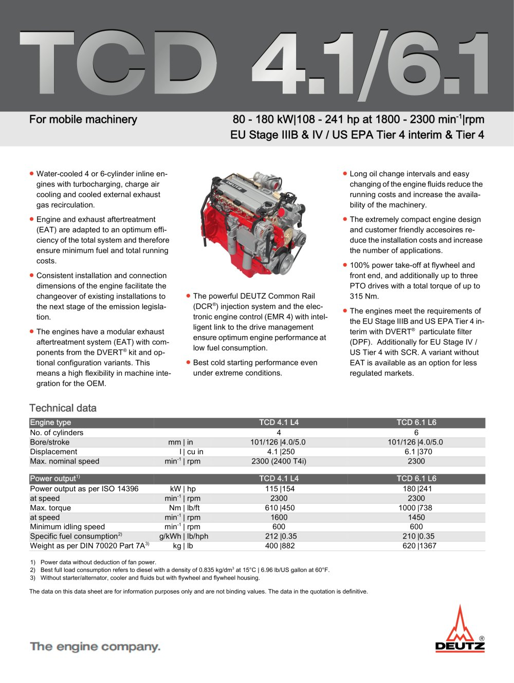 TCD 4.1 L4 Engine for Industrial Applications - 1 / 2 Pages