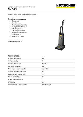 089c480e6c2 CV 30 1 Upright brush-type vacuum cleaner - KÄRCHER - PDF Catalogs ...