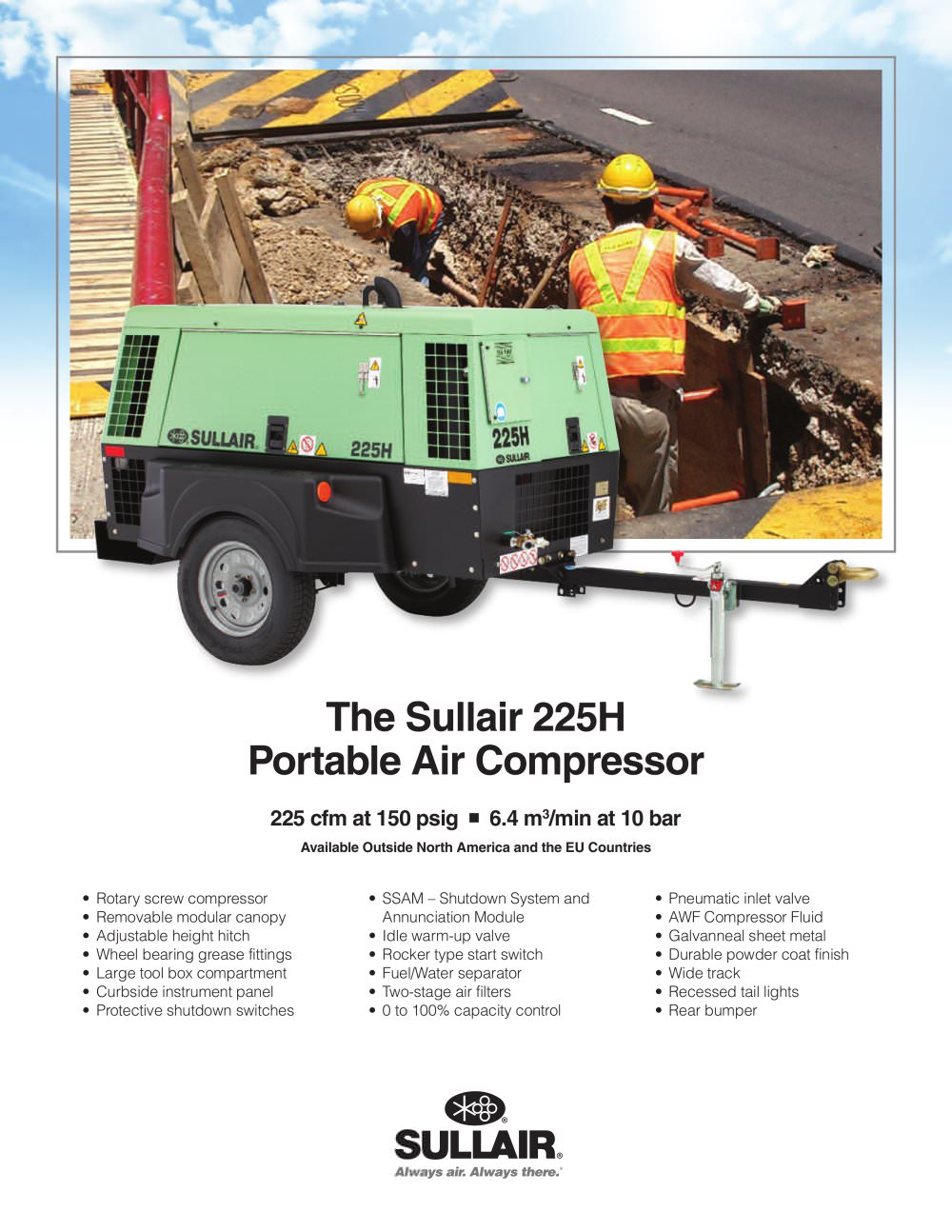 The Sullair 225H Portable Air Compressor - 1 / 2 Pages