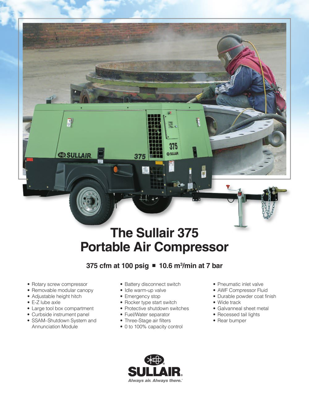 The Sullair 375 Portable Air Compressor - 1 / 2 Pages