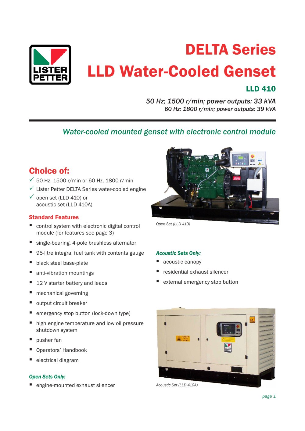 Delta Series Lld Water Cooled Genset Lister Petter Pdf Catalogue Engine Diagram 1 4 Pages