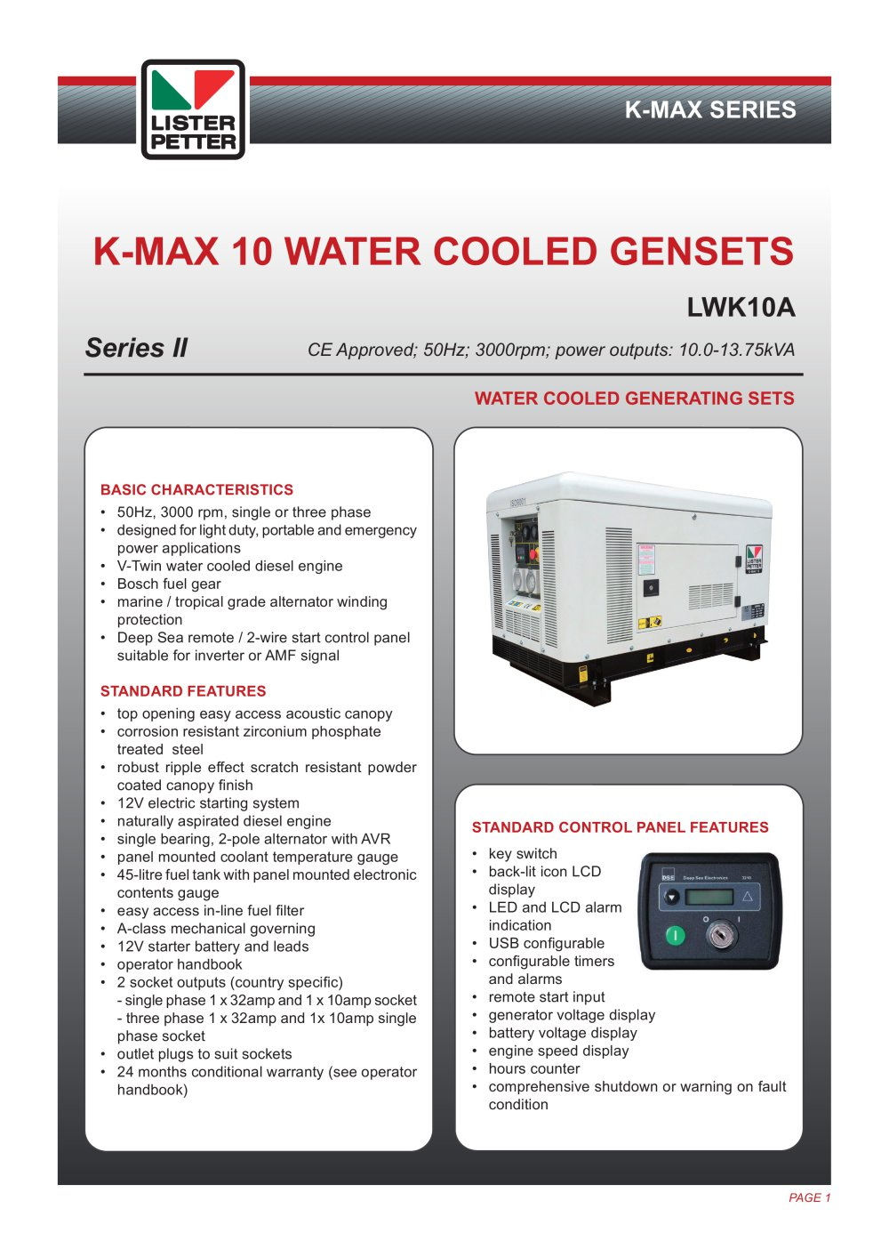 K Max 10 Gensets Lister Petter Pdf Catalogue Technical Wiring Panel Ats Amf 1 2 Pages
