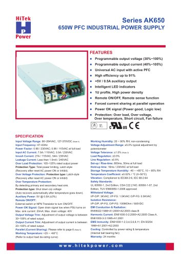 Series AK650 - 650W Industrial Power Supply - HiTek Power GmbH - PDF