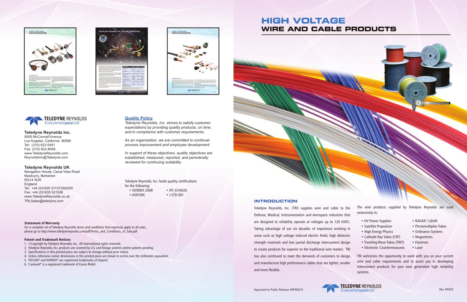 HIGH VOLTAGE WIRE AND CABLE PRODUCTS - Teledyne Reynolds - PDF ...
