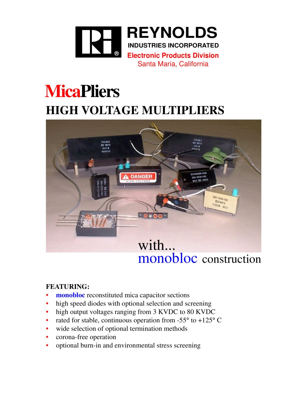 Micapliers With Monobloc Construction High Voltage Multipliers 1 6 Pages