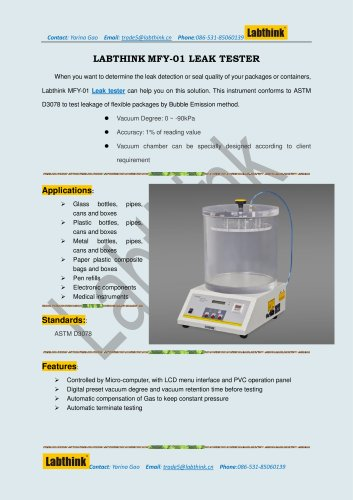 vacuum leak tester for bottle