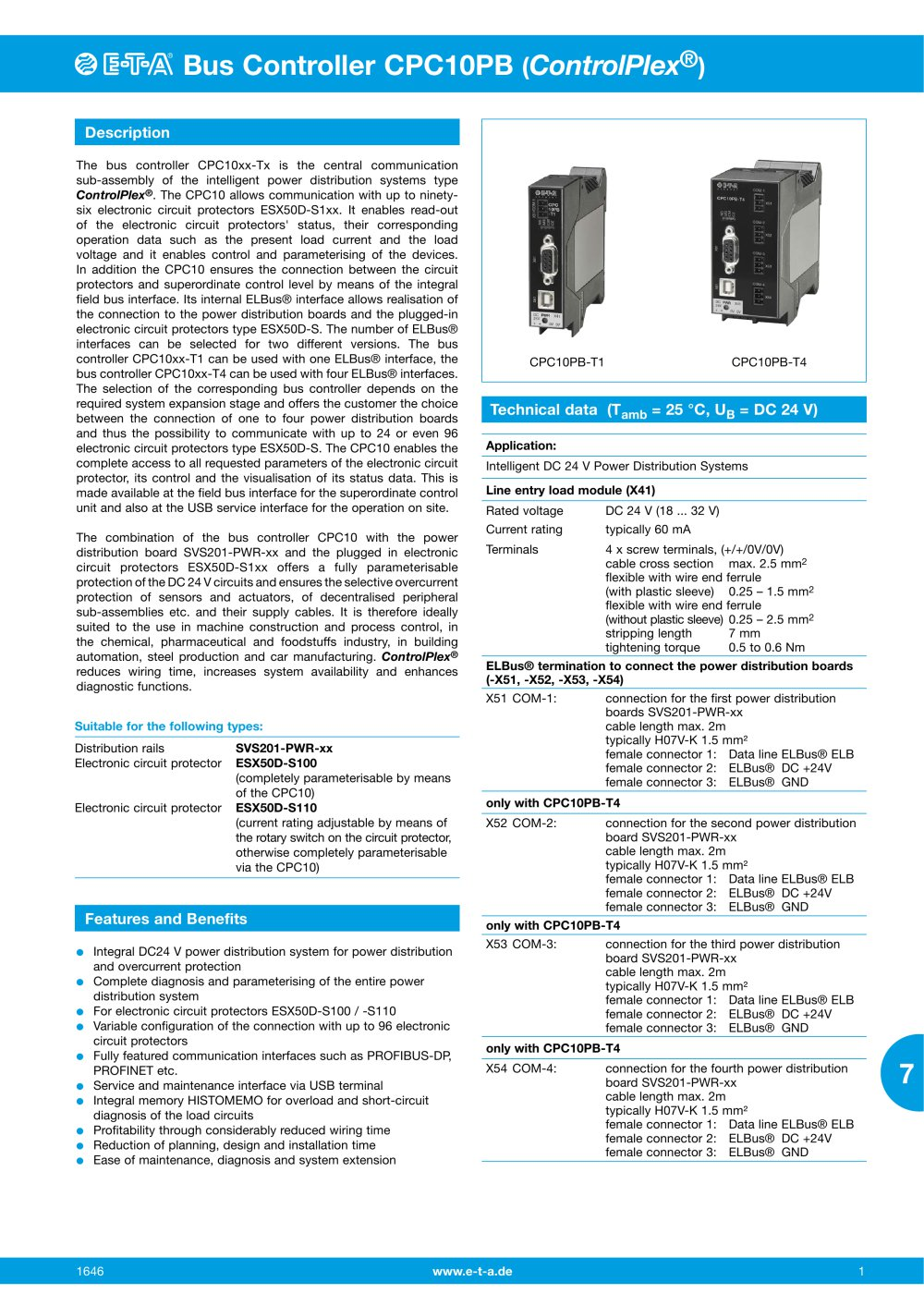 Pc10pb E T A Pdf Catalogue Technical Documentation Brochure Understanding Electronic Circuits 1 4 Pages