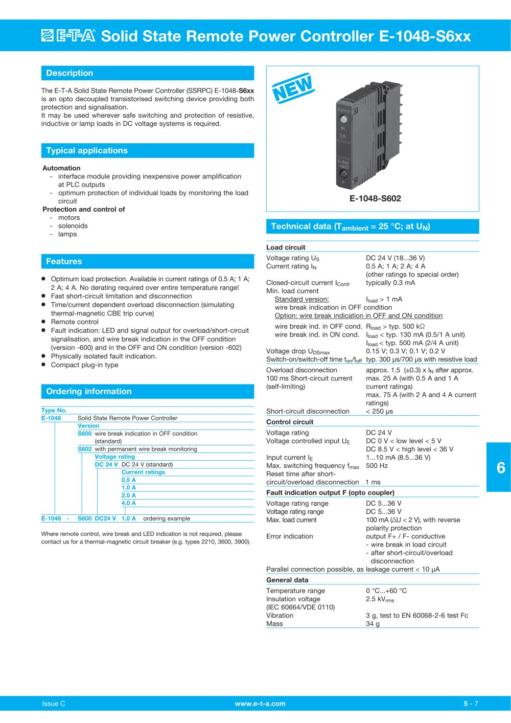 Solid State Remote Power Controller E 1048 S6xx T A Pdf Thermal Circuit Breakers Trip And Turn Off The If Current 1 4 Pages