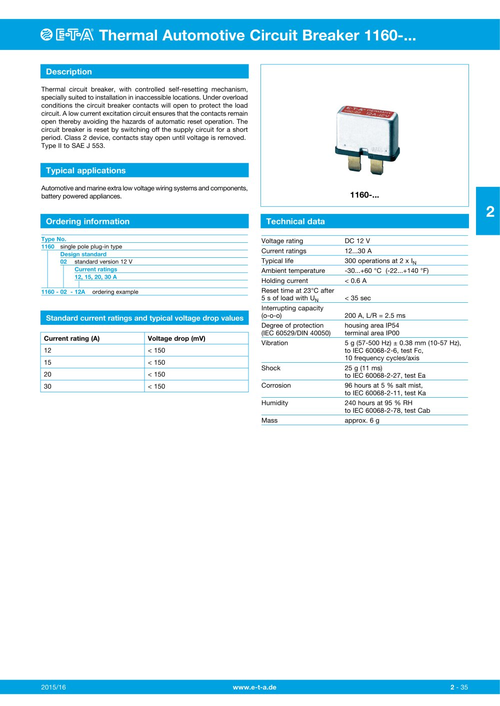 Thermal Automotive Circuit Breaker 1160 E T A Pdf Catalogue Wiring 1 2 Pages