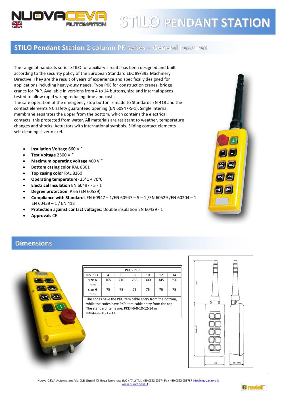 Stilo series pendant stations nuova ceva automation pdf stilo series pendant stations 1 4 pages aloadofball Choice Image