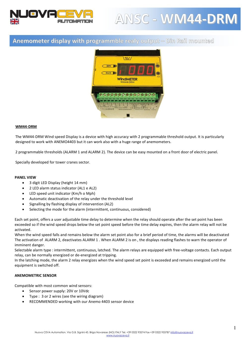 Wm44 Drm Nuova Ceva Automation Pdf Catalogue Technical Led Display Panel Wiring Diagram 1 4 Pages