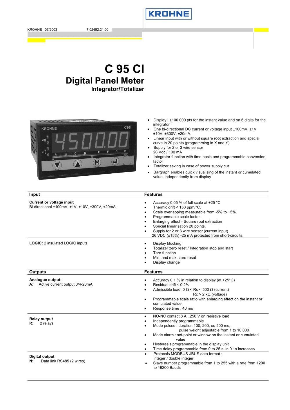 C95 Ci Krohne Messtechnik Pdf Catalogue Technical Rc Integrator Circuit 1 4 Pages