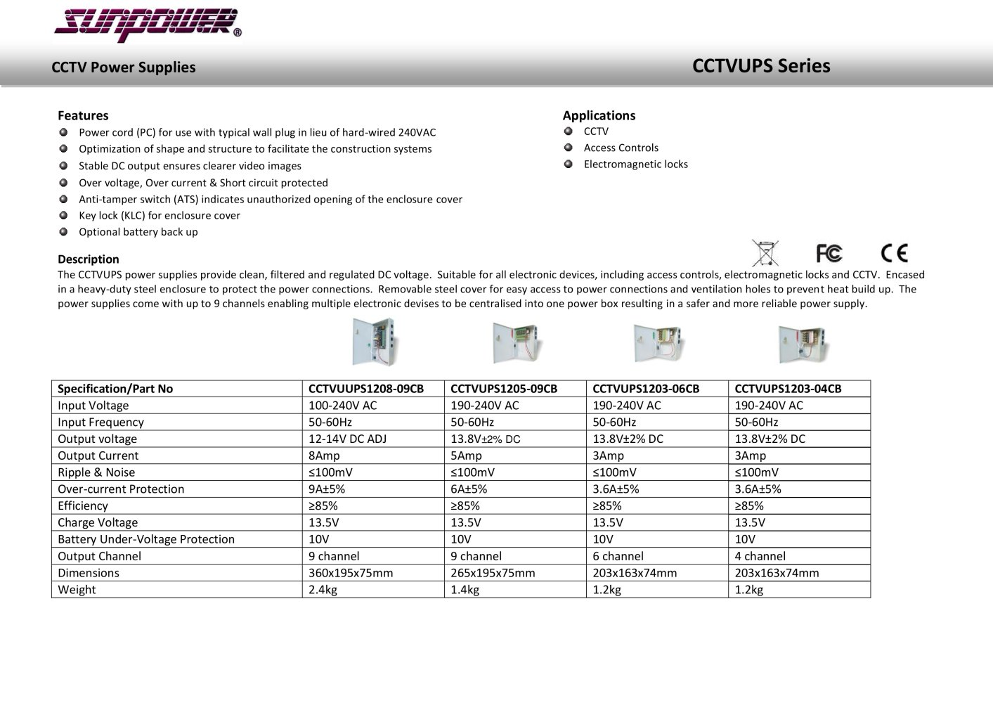 CCTV Uninterruptible Power Supplies - Sunpower UK - PDF Catalogue ...