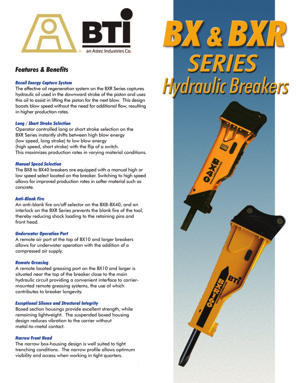 BX / BXR Series Hydraulic Breakers - Breaker Technology, LTD. - PDF ...