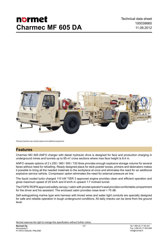 Charmec Mf 605 Da Normet International Ltd Pdf Catalogs Wire Harness Documentation 1 7 Pages