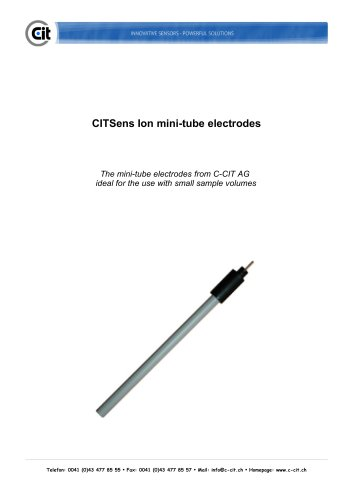 CITSensIon mini-tube electrode product catalog