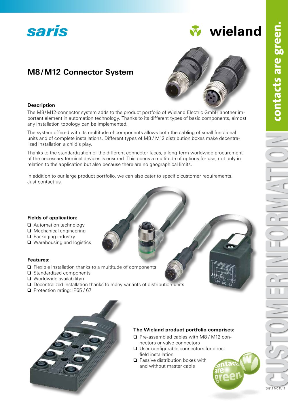 saris M8 M12 Connector System WIELAND ELECTRIC PDF Catalogue