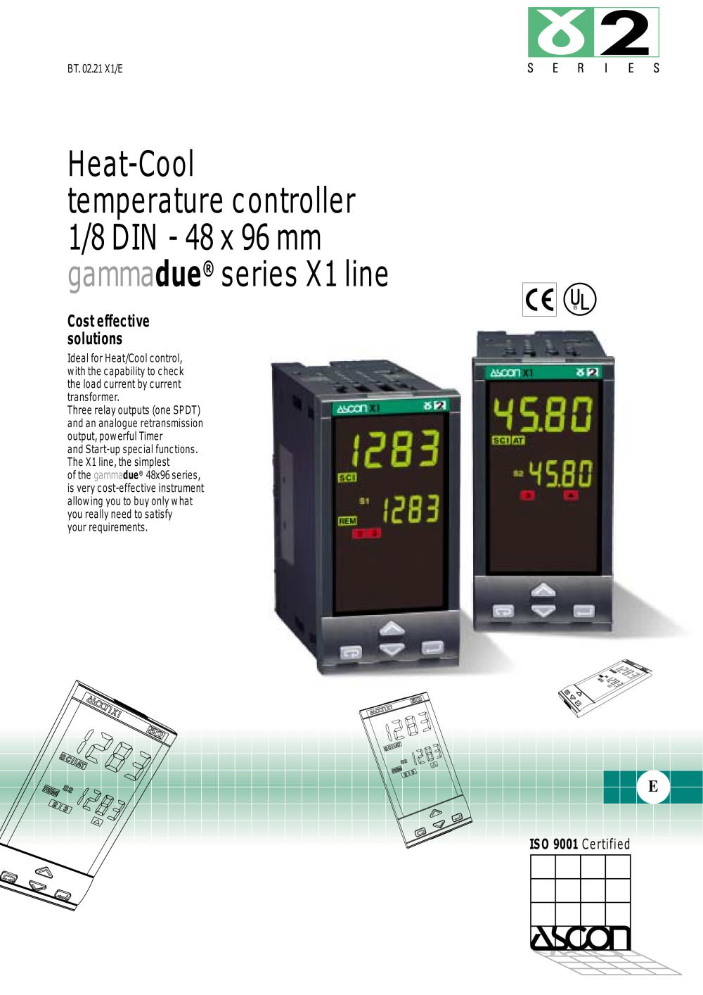 Heat Cool Heat Cool Temperature Controller 1 8 Din 48 X 96 Mm Ascon