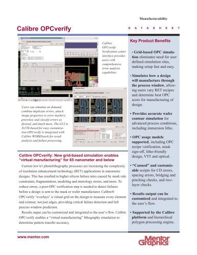 Calibre OPCverify - Mentor Graphics - PDF Catalogs | Technical