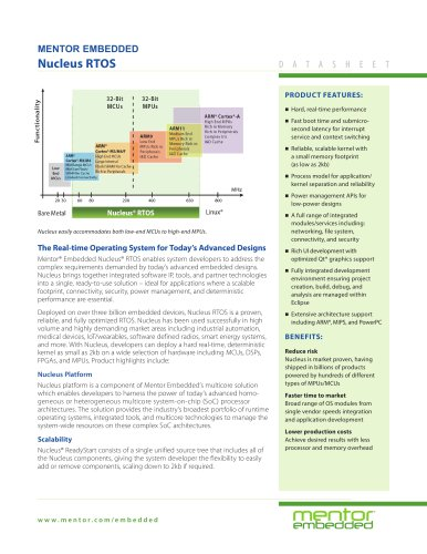 Nucleus RTOS - Mentor Graphics - PDF Catalogs | Technical