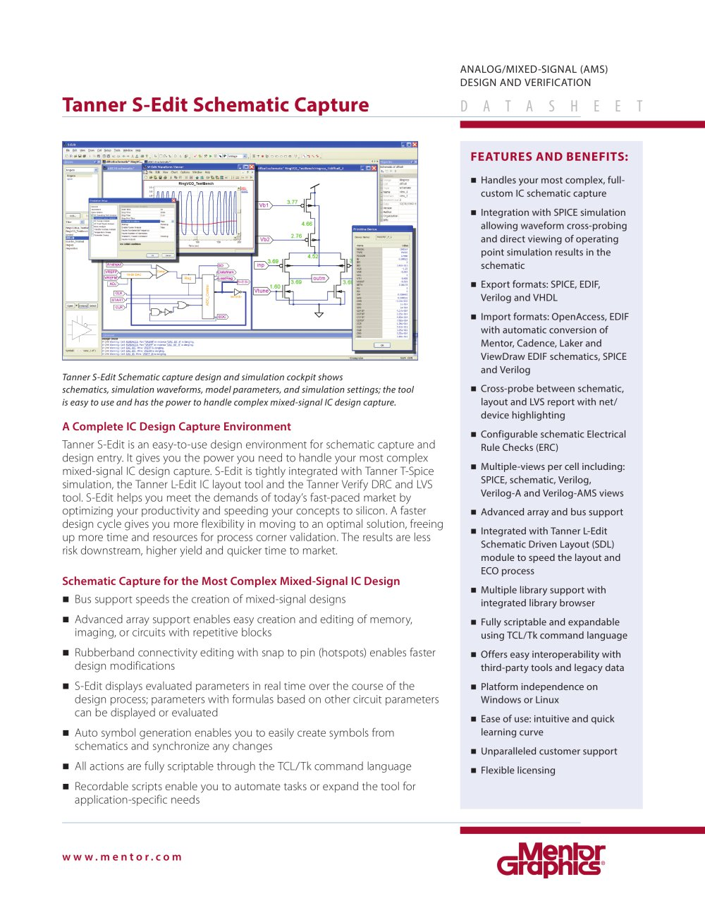 Tanner S-Edit Schematic Capture - Mentor Graphics - PDF Catalogue ...