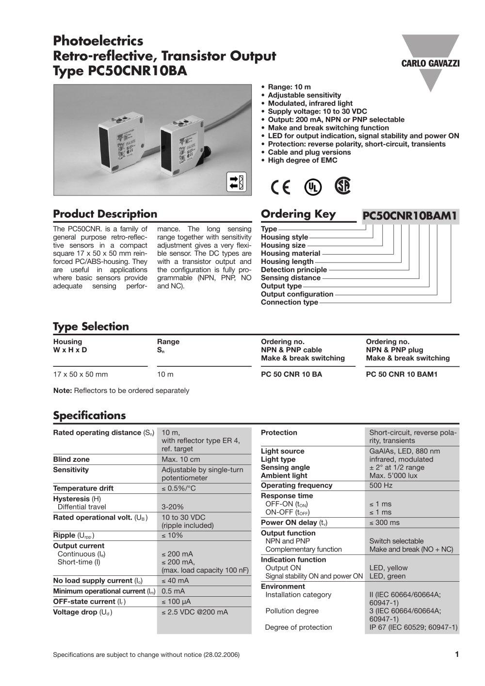 Photoelectrics Retro-reflective, Transistor Output Type PC50CNR10BA ...