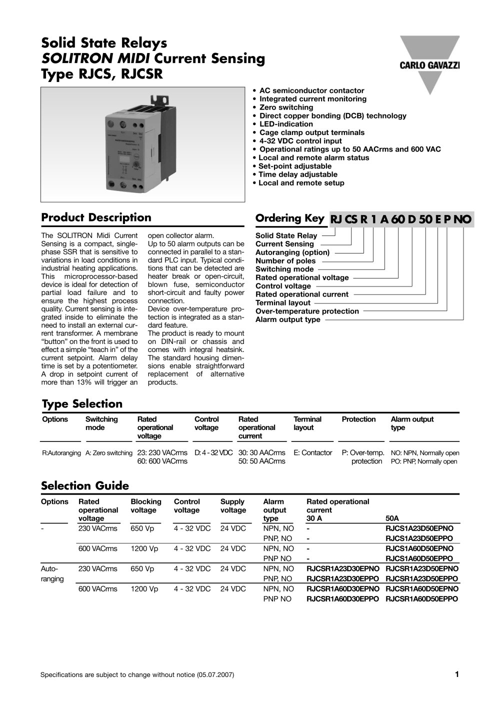 Solid State Relays Rjcs1a23d30epno Carlo Gavazzi Pdf Catalogs Basic Of Relay 1 7 Pages