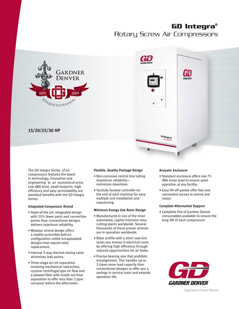 integra 15-30hp brochure - 1 / 2 pages integra 15-30hp brochure - gardner  denver rds series refrigerated dryer manual