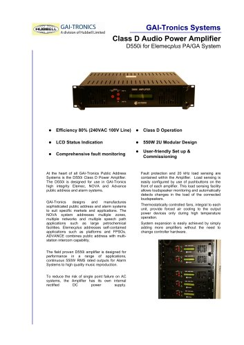 D550i Class D Audio Power Amplifier for Elemec Plus PA/GA System