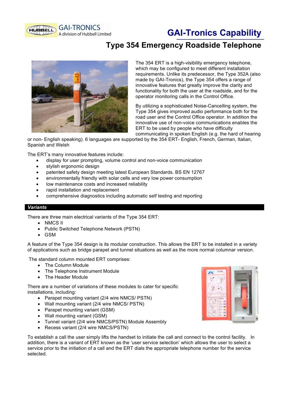 Roadside Emergency Telephone Type 354 - GAI-Tronics a division of ...