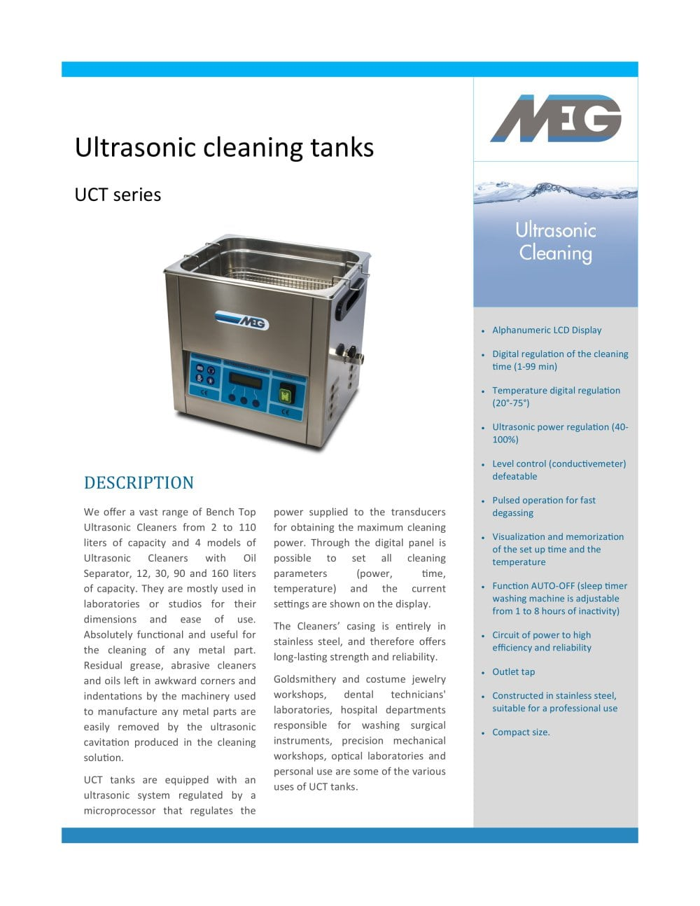 Uct Ultrasonic Cleaning Tanks Meg Pdf Catalogue Technical Electronic Timer Circuit For Washing Machine 1 2 Pages