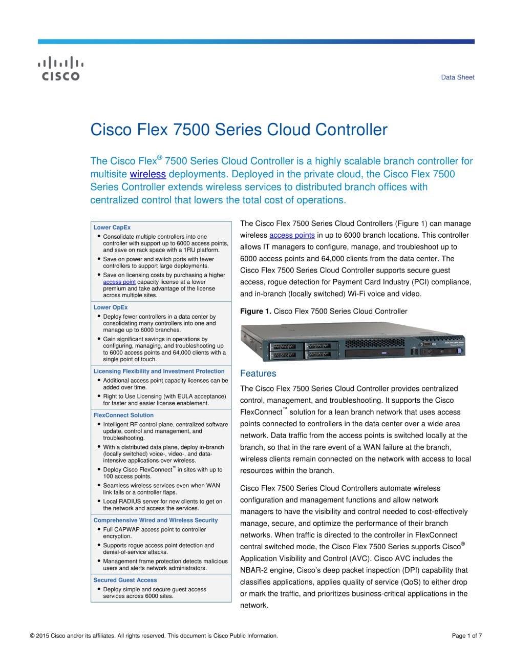 Cisco Flex 7500 Cisco Systems Pdf Catalogue Technical