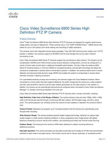 Cisco Video Surveillance 6900 - Cisco Systems - PDF Catalogs
