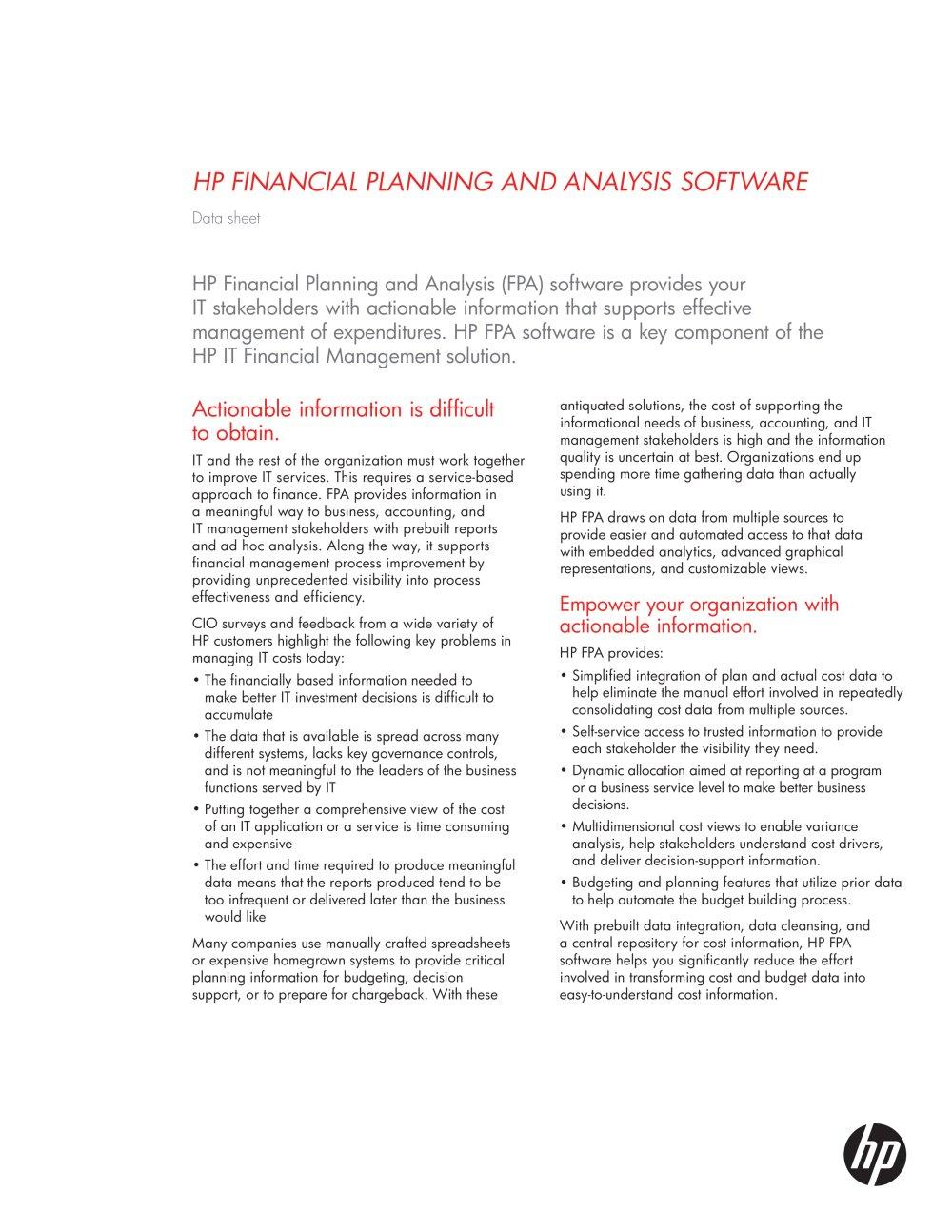 HP Financial Planning and Analysis software - Hewlett-Packard ...
