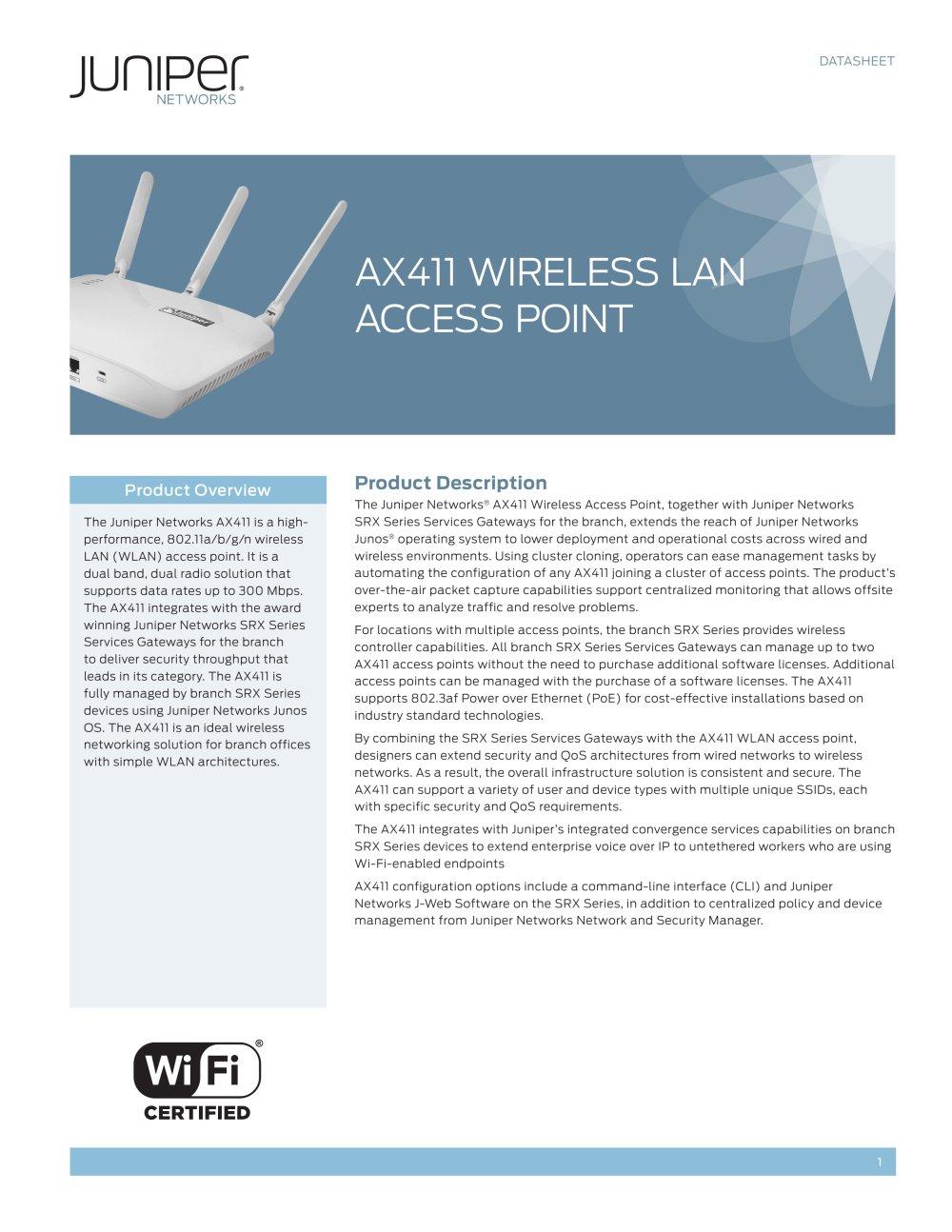 AX411 Wireless WLAN Access Point - Juniper Networks - PDF Catalogue ...